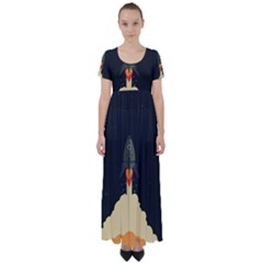 Rocket Space Stars High Waist Short Sleeve Maxi Dress