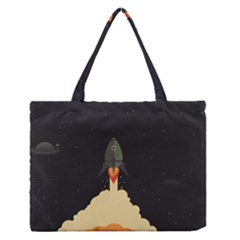 Rocket Space Stars Zipper Medium Tote Bag by Nexatart