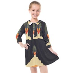 Rocket Space Stars Kids  Quarter Sleeve Shirt Dress by Nexatart