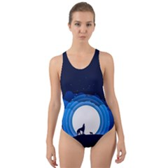 Month Full Moon Wolf Night Cut Out Back One Piece Swimsuit