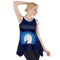 Month Full Moon Wolf Night Side Drop Tank Tunic by Nexatart
