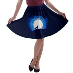 Month Full Moon Wolf Night A Line Skater Skirt