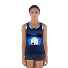 Month Full Moon Wolf Night Sport Tank Top