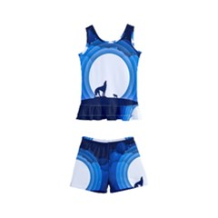 Month Full Moon Wolf Night Kid s Boyleg Swimsuit