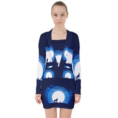 Month Full Moon Wolf Night V Neck Bodycon Long Sleeve Dress