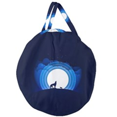 Month Full Moon Wolf Night Giant Round Zipper Tote
