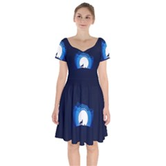 Month Full Moon Wolf Night Short Sleeve Bardot Dress