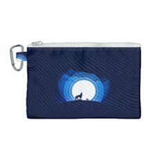 Month Full Moon Wolf Night Canvas Cosmetic Bag (medium)