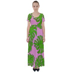 Leaves Tropical Plant Green Garden High Waist Short Sleeve Maxi Dress