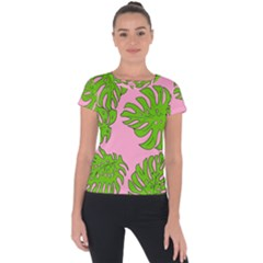 Leaves Tropical Plant Green Garden Short Sleeve Sports Top