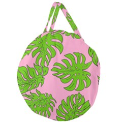Leaves Tropical Plant Green Garden Giant Round Zipper Tote