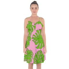 Leaves Tropical Plant Green Garden Ruffle Detail Chiffon Dress by Nexatart
