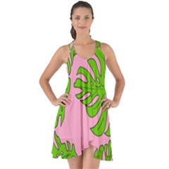 Leaves Tropical Plant Green Garden Show Some Back Chiffon Dress