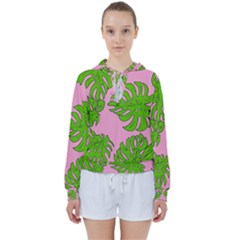 Leaves Tropical Plant Green Garden Women s Tie Up Sweat