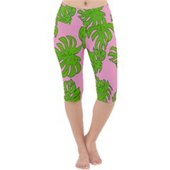 Leaves Tropical Plant Green Garden Lightweight Velour Cropped Yoga Leggings