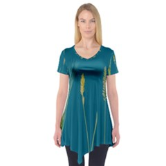 Grass Grasses Blade Of Grass Short Sleeve Tunic