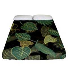 Autumn Fallen Leaves Dried Leaves Fitted Sheet (california King Size) by Nexatart