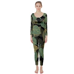 Autumn Fallen Leaves Dried Leaves Long Sleeve Catsuit