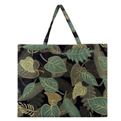 Autumn Fallen Leaves Dried Leaves Zipper Large Tote Bag