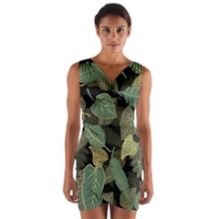 Autumn Fallen Leaves Dried Leaves Wrap Front Bodycon Dress