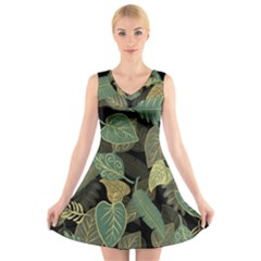 Autumn Fallen Leaves Dried Leaves V Neck Sleeveless Dress