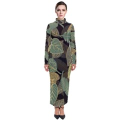 Autumn Fallen Leaves Dried Leaves Turtleneck Maxi Dress