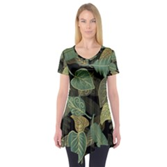 Autumn Fallen Leaves Dried Leaves Short Sleeve Tunic