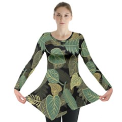 Autumn Fallen Leaves Dried Leaves Long Sleeve Tunic