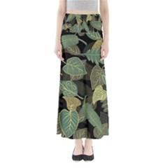 Autumn Fallen Leaves Dried Leaves Full Length Maxi Skirt