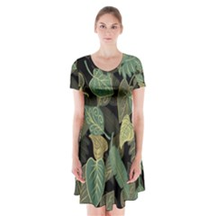 Autumn Fallen Leaves Dried Leaves Short Sleeve V Neck Flare Dress