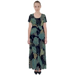 Autumn Fallen Leaves Dried Leaves High Waist Short Sleeve Maxi Dress