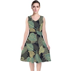 Autumn Fallen Leaves Dried Leaves V Neck Midi Sleeveless Dress