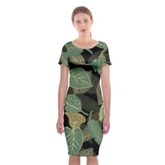 Autumn Fallen Leaves Dried Leaves Classic Short Sleeve Midi Dress
