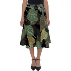 Autumn Fallen Leaves Dried Leaves Perfect Length Midi Skirt