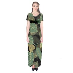 Autumn Fallen Leaves Dried Leaves Short Sleeve Maxi Dress