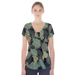 Autumn Fallen Leaves Dried Leaves Short Sleeve Front Detail Top