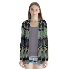 Autumn Fallen Leaves Dried Leaves Drape Collar Cardigan