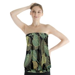 Autumn Fallen Leaves Dried Leaves Strapless Top