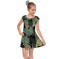 Autumn Fallen Leaves Dried Leaves Kids Cap Sleeve Dress