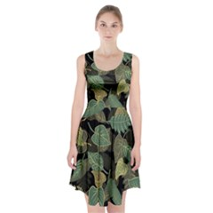 Autumn Fallen Leaves Dried Leaves Racerback Midi Dress