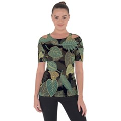 Autumn Fallen Leaves Dried Leaves Shoulder Cut Out Short Sleeve Top