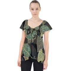 Autumn Fallen Leaves Dried Leaves Lace Front Dolly Top