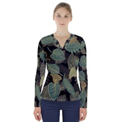 Autumn Fallen Leaves Dried Leaves V Neck Long Sleeve Top