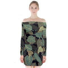 Autumn Fallen Leaves Dried Leaves Long Sleeve Off Shoulder Dress