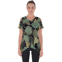 Autumn Fallen Leaves Dried Leaves Cut Out Side Drop Tee