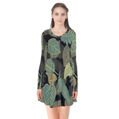Autumn Fallen Leaves Dried Leaves Long Sleeve V Neck Flare Dress