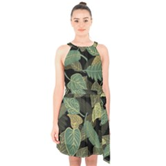 Autumn Fallen Leaves Dried Leaves Halter Collar Waist Tie Chiffon Dress