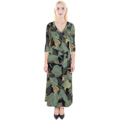 Autumn Fallen Leaves Dried Leaves Quarter Sleeve Wrap Maxi Dress