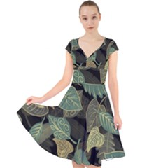 Autumn Fallen Leaves Dried Leaves Cap Sleeve Front Wrap Midi Dress