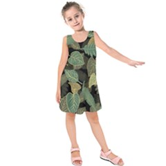 Autumn Fallen Leaves Dried Leaves Kids  Sleeveless Dress